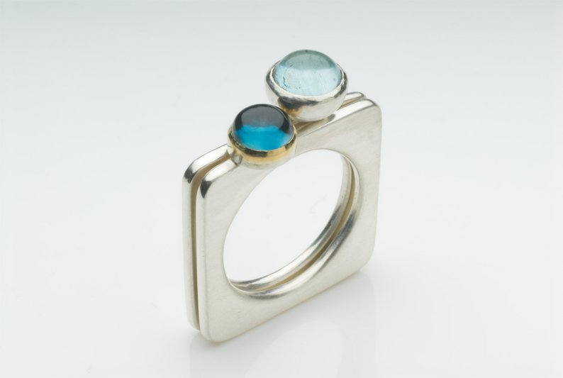 Barbara S Jewellery Aqumarine and Topaz Contemporary Stacking Ring, $485