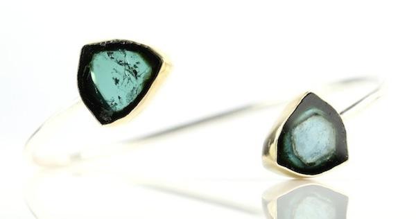 Leda Jewel Company Indicolite Blue Tourmaline Crystal Slice Bracelet, $1,100