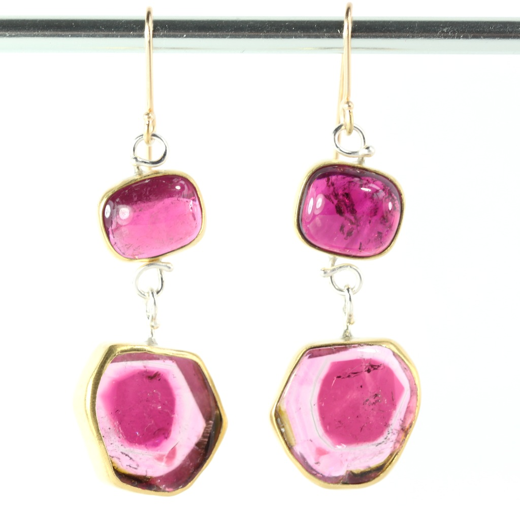 Leda Jewel Company Rubellite Earrings with watermelon tourmaline drops