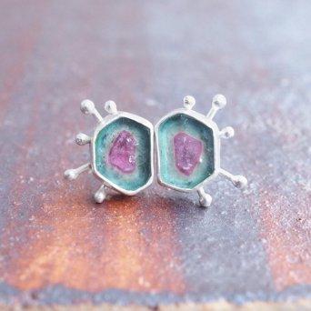 mimichaJAPAN Asymmetrical starburst blue and pink watermelon tourmaline stud earrings, $336