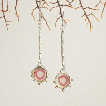 mimichaJAPAN starburst watermelon tourmaline dangle earrings with gold granules, $289