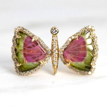 moustier tourmaline butterfly and diamond ring