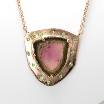 moustier tourmaline pendant with tsavorites