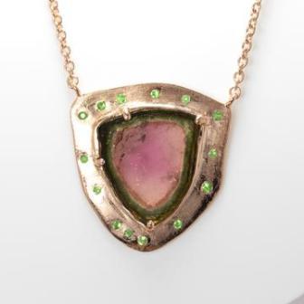 moustier tourmaline pendant with tsavorites