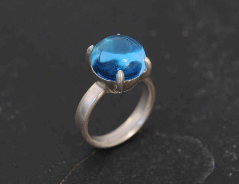 William White Blue Topaz Cabochon Ring, $594