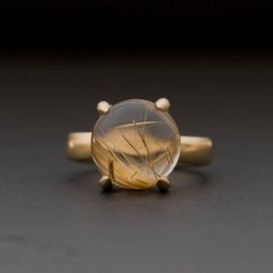 William White Big Rutilated Quartz Cabochon Ring in 18K Yellow Gold