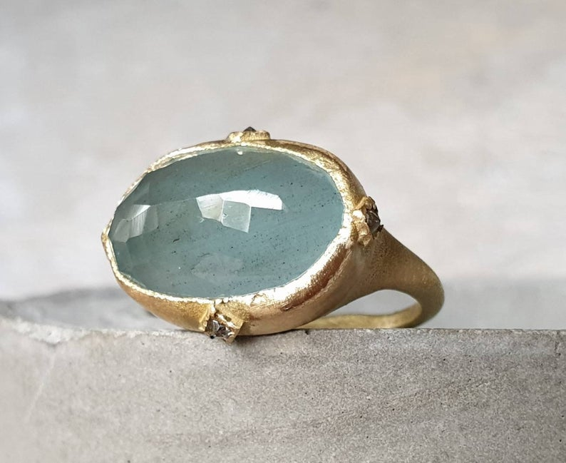 CJ Bijoux Aquamarine and 18k Gold Ring, $840