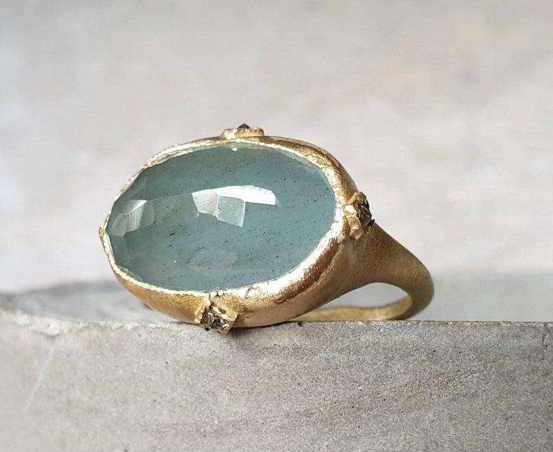 CJ Bijoux Aquamarine and 18k Gold Ring, $840