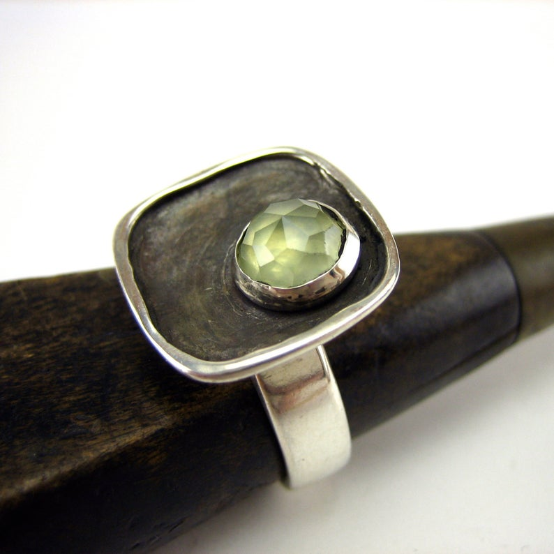 marmarModern Prehnite and Sterling Silver Ring, $130