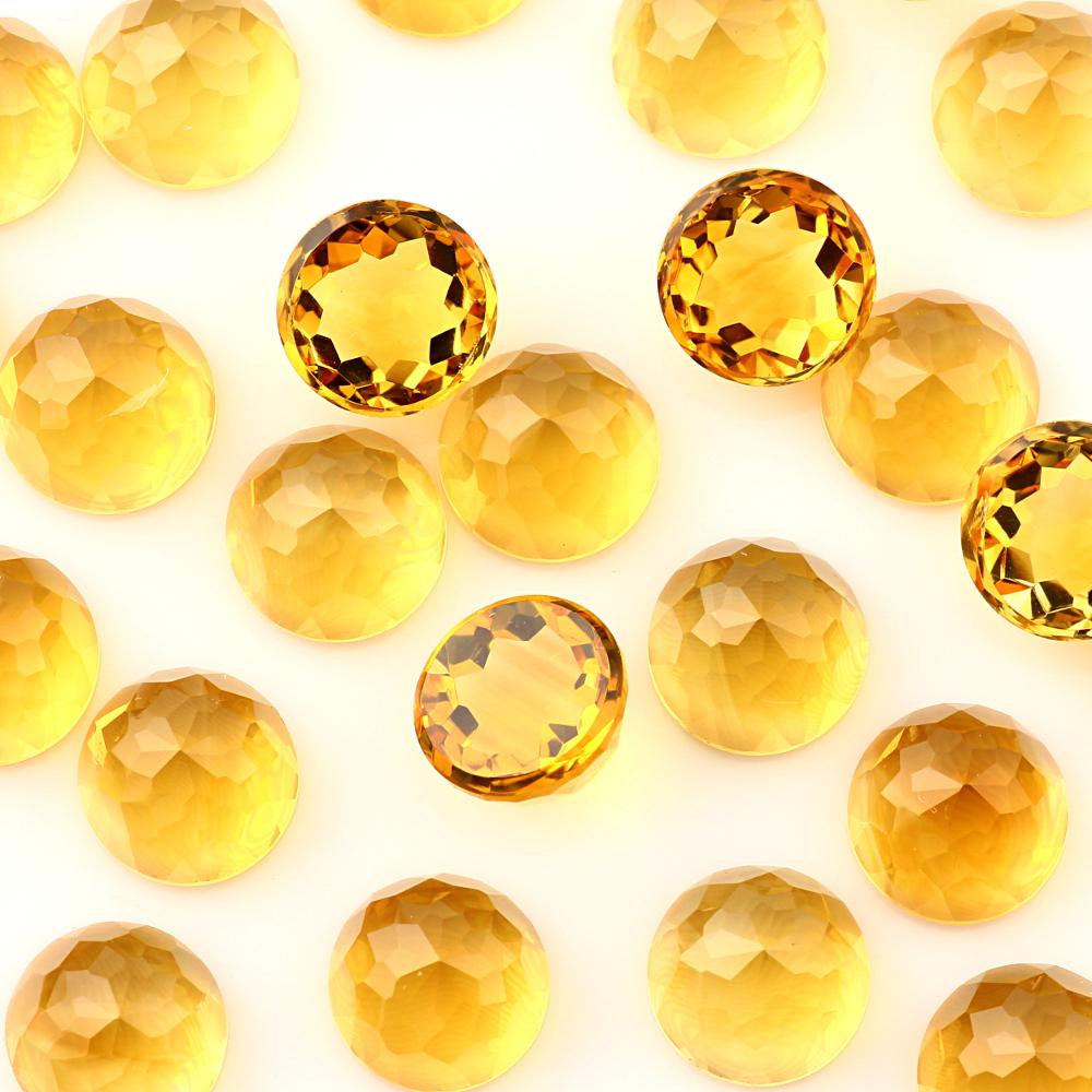 Joopy Gems Citrine Rose Cut Cabochon 10mm Round
