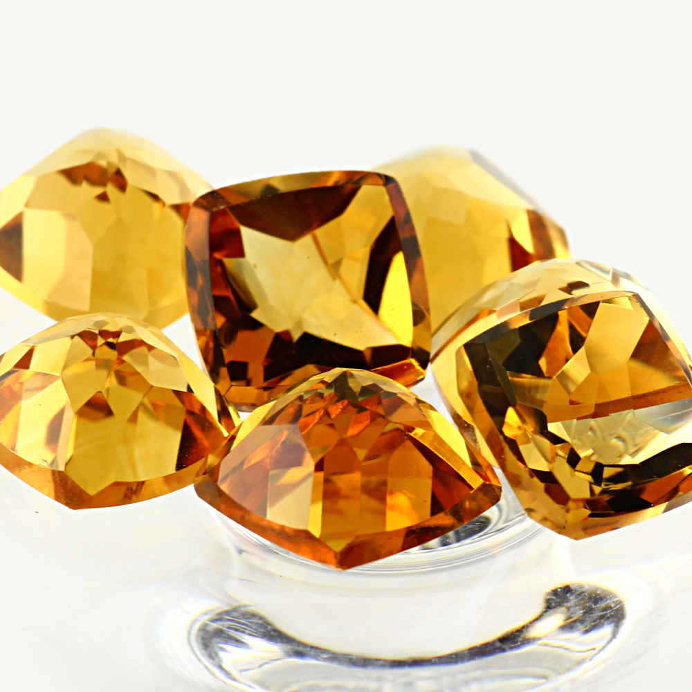 Joopy Gems Citrine Rose Cut Cabochon 8mm Square Cushion