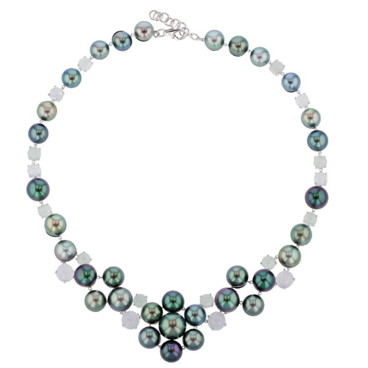 Hinerava Chalcedony & Aquamarine Tahitian Pearl necklace