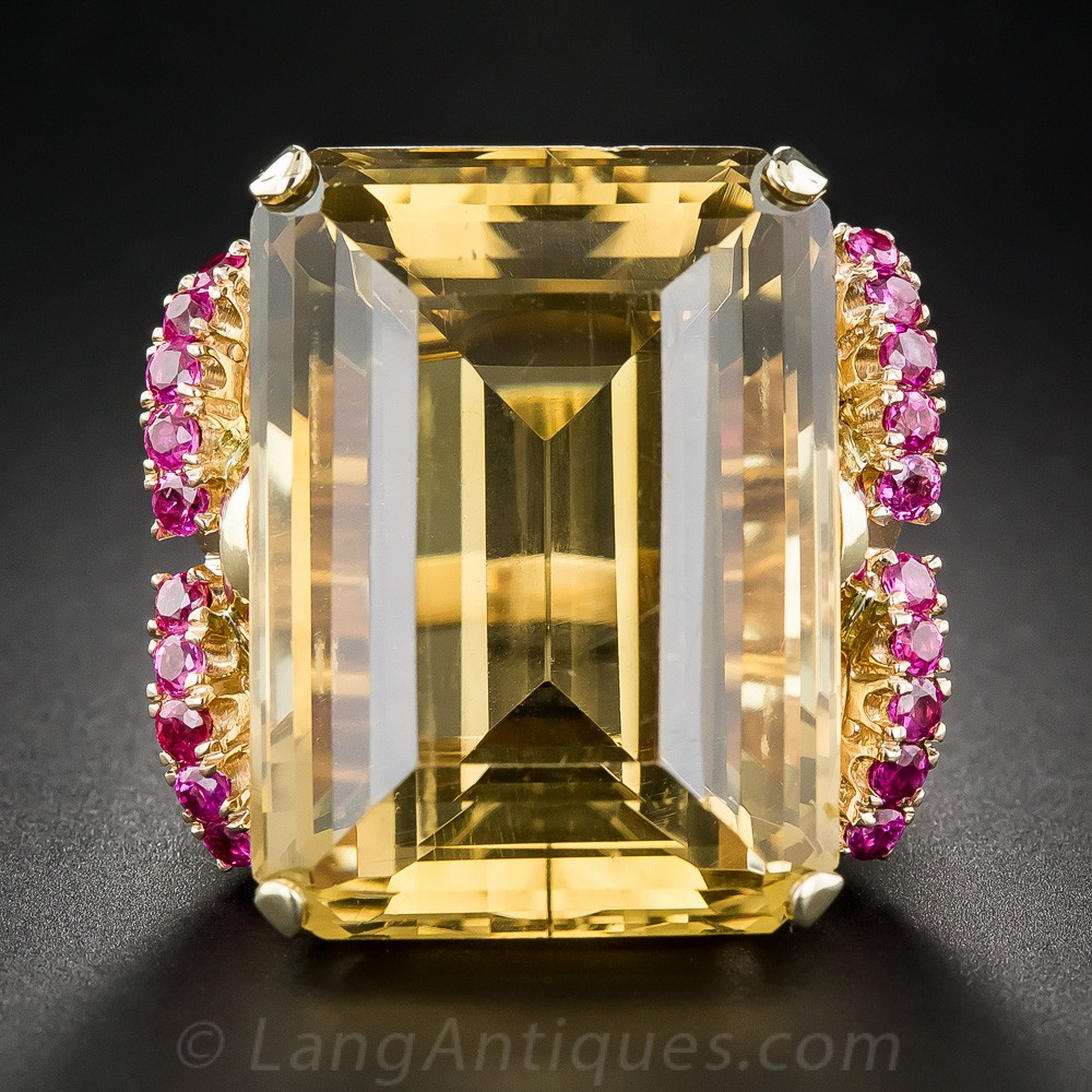 Lang Antiques 1940s Citrine and Ruby Ring