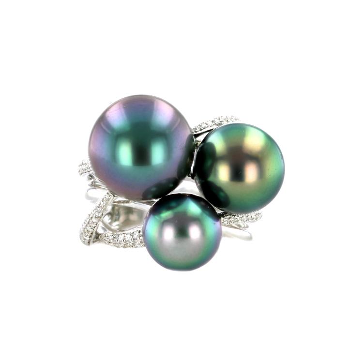 Hinerava Pearls Tri-color Diamond & Pearl Ring
