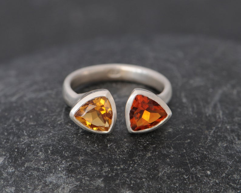 William White Madeira Citrine Double Trillion in Silver, $240