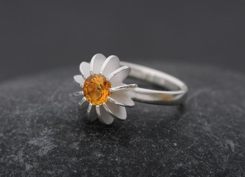 William White Sea Urchin Citrine and Silver Ring, $160