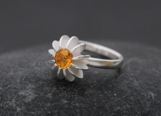 William White Sea Urchin Citrine and Silver Ring, $160