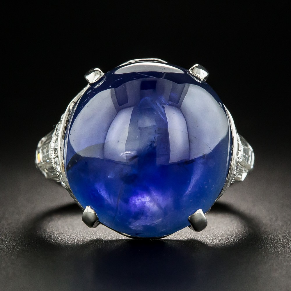Lang Antiques Art Deco Burmese Sapphire and Diamond Ring