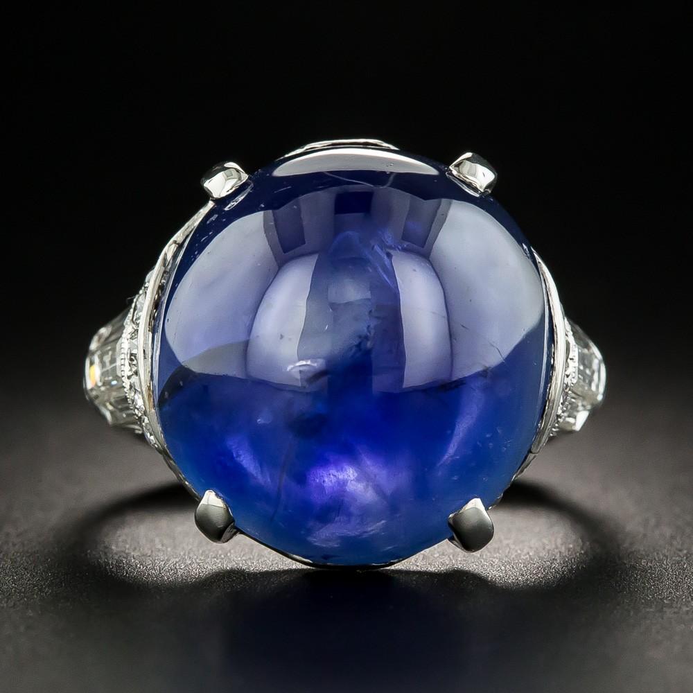 Lang Antiques Art Deco Burmese Sapphire and Diamond Ring