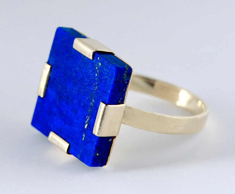Noqra Handmade Jewelry Lapis and Sterling Silver Ring, $60