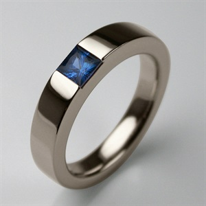 Stephen Einhorn Times Square 4 Ring White Gold and Princess Cut Blue Sapphire
