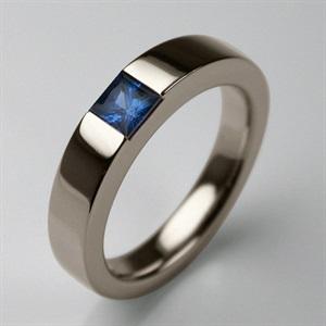 Stephen Einhorn Times Square 4 Ring White Gold and Princess Cut Blue Sapphire