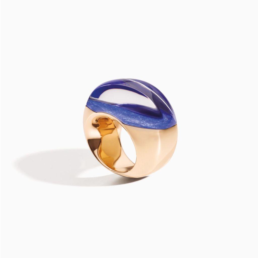 Vhernier Aladino Rose Gold Lapis and Rock Crystal Ring