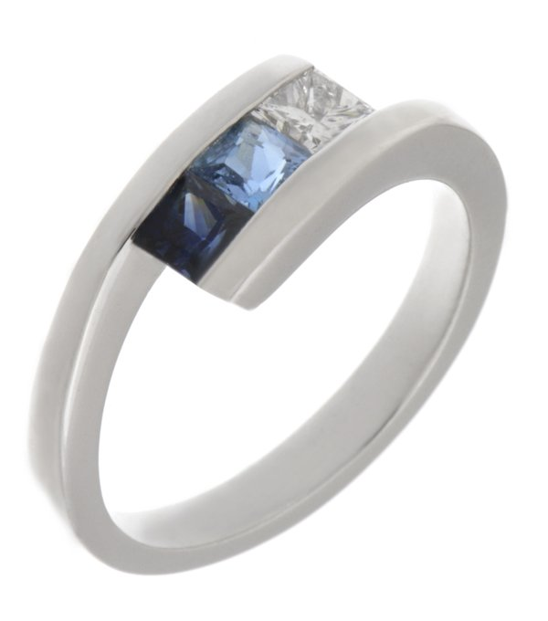 Victoria James Modern princess cut diamond blue sapphire and aquamarine crossover trilogy ring