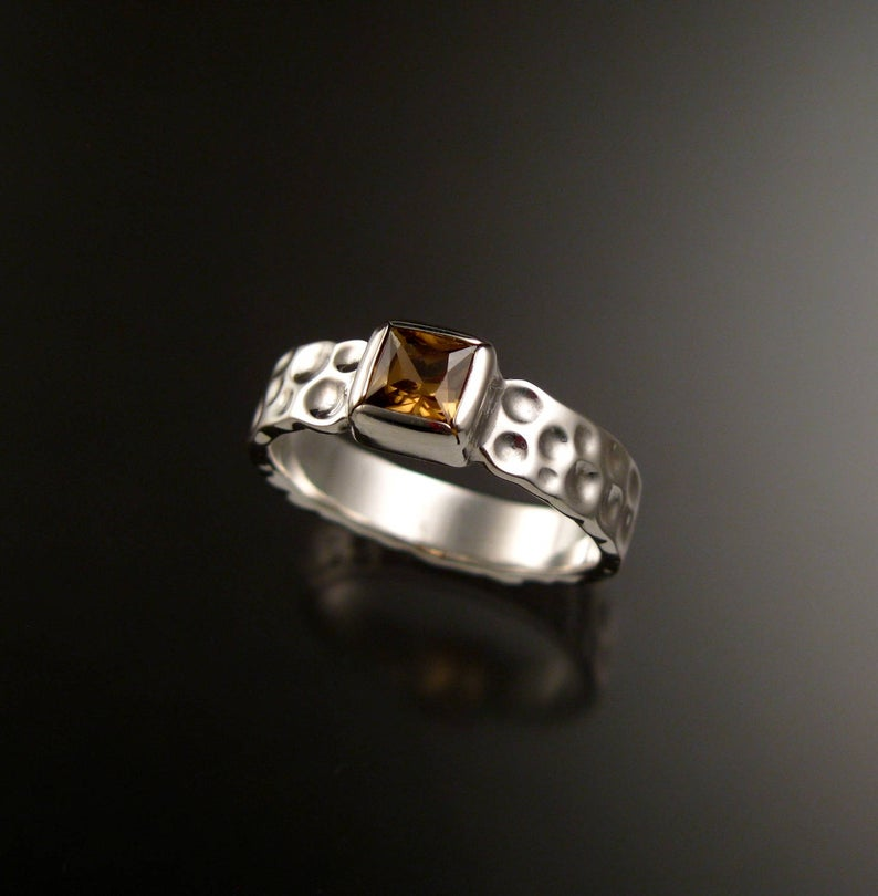 Stone Fever Zircon square Moonscape ring handcrafted in Sterling Silver