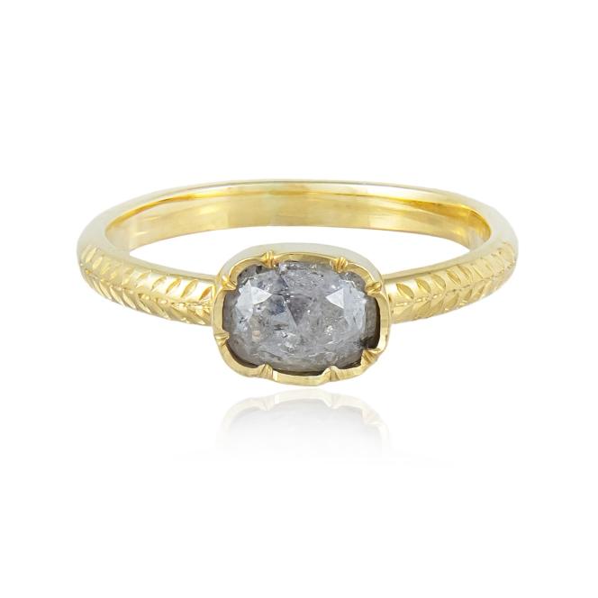 Natalie Perry Flower Set Salt and Pepper Diamond Ring