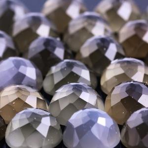 Joopy Gems Grey Moonstone, 10mm Rose Cut Round